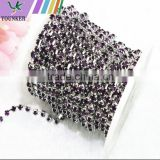 15 FEET 5Yard SS12 3mm Purple Crystal Silver Plated Rhinestone Chain Trims Cup Chain Wedding Garments Decoration YSCHC1027