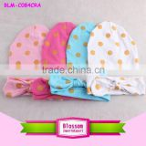 Latest Patterns Cute Gold Polka Dot Cotton Warm Winter Fashion Accessories Baby Stylish Cap Baby Boy Hats With Headband                                                                         Quality Choice