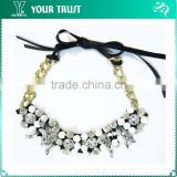 Black Ribbon Gold Chain Neckpiece Rhinestone Applique
