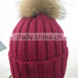 Knitted real raccoon leather fur ball pom pom hat