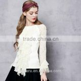 teen girls lace splicing elastic slim tops ladies ruffles round neck shirt for women soft basic shirt tops in autumn spring