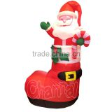 Alibaba Goods Customize Lighted Christmas Inflatable Santa Claus in Boot Yard Decoration