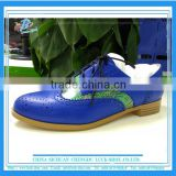 Blue Lady's genuine leather brogue boots british style customized women shoes brand New design