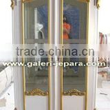 French Glass Armoire - Solid Wood Wardrobe Indonesia Furniture