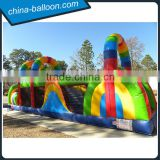 Inflatable rainbow slide bouncy / Colorful inflatable obstacle bouncer for kids