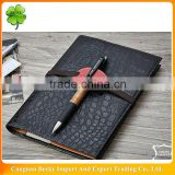 2015 fashion imitation leather Notebook with 6-holes metal clip binder and elastic tape closure/pen holder