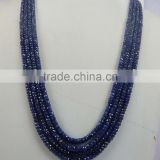 Natural Blue Sapphire Faceted Beads 4 Strand Necklace