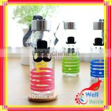 High quality color glass water bottles wholesale glass water bottle with silicone sleeve water bottle with straw