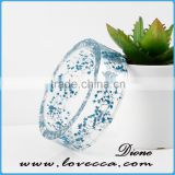 Very beautiful women charms jewelry botanical bangles artish clear plastic resin bracelets