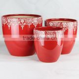 Outdoor terracotta red glazed flower pots & planters