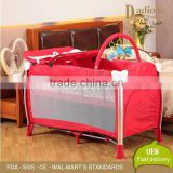 Portable Baby Cribs Metal Infant Double Bed Design with Wheel