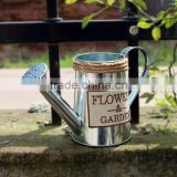 European style Galvanized painting garden metal watering can , Countryside Flowers watering can metal flowers pot