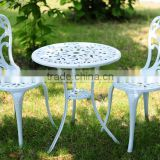 Popular cast Aluminum garden metal bistro set metallic table and chair with white color for garden use for hot sale