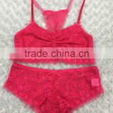 girl wears see through lace soft cup non sponge bra and boyshort Shantou OEM underwear Factory