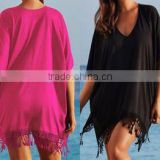 hot sale tassel loose blouse cover up short sleeve deep v neck beach bikini cover summer fashion dress women