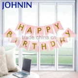 Wholesale 15x20cm Custom Color Happy Birthday Banner Paper Bunting For Party Decoration
