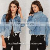 Clothing women OEM service long sleeve casual short ladies denim jacket