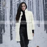 Snow White Mink Fur Coat Stiped Natural Mink Overcoat Women's Real Fur Down Jacket Reversible