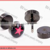 anodized titanium black fake earrings ear plugs jewelry body piercing with red star logo