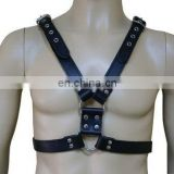 HMB-428A LEATHER BODY CHEST HARNESS GOTHIC COSTUME WEAR