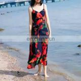 women clothing 2017 floral print swimwear waist tight summer cotton and linen beach wear Hawaii maxi boho style slip dress