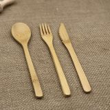 3 Pieces Wooden Cutlery for Family and Restaurant,Contains Fork ,Spoon and Knife,Made of Bamboo