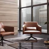 Modern medium back leisure leather armrest visitor coffee chair