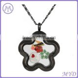 Black Enamel Flower Shape Stainless Steel Glass Memory Locket Photo Frame Locket Pendant