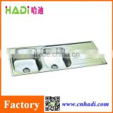 FOSHAN hadi Doulbe bowl 304 SUS kitchen apron stainless steel kitchen sink with drain board HD12348