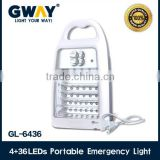 4 LED spotlight+36 LED emergency light,portable recargeable led lamp for camping,battery charger lamp