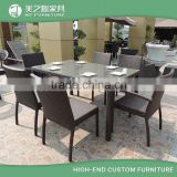 6 people seat dining outdoor plastic wicker rattan patio furniture outdoor garden dinning table and chair set