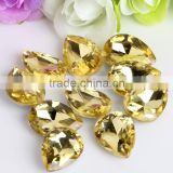 Yellow AAA Quality Wholesales Point Back Loose Shapes Teardrop Crystal Glass Beads for Jewelry Making Decorating Cheap