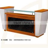 SAMPLE yellow cherry wood reception desk beauty salon DYC18-1                                                                         Quality Choice