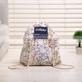 wholesale full color heat transfer cotton canvas drawstring bag, canvas drawstring backpack
