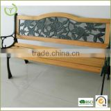 HL-B-15006 outdoor bench wood slats cast iron leg garden bench PVC backrest sit chair park bench