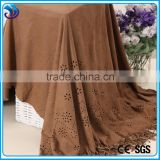 Plain Dyed Weft Knit Polyester Spandex synthetic suede fabric laser double borders for dressing