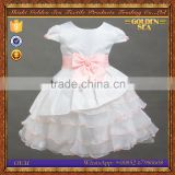 New Model 4-10years Old Butterfly White Short Sleeve Ruffle Girl Party Wear Western Dress