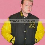 men's letterman black wool body with yellow leather sleeves bomber jackets