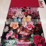 retail luxury gorgeous design high quality 100% silk cashmere attractive flower oil painting digital printed scarf