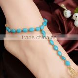 Turquoise Pearl Bead Barefoot Sandal Foot Toe Ring Jewelry WEDDING Beach Anklet