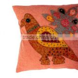 RTHCC-57 Birds And Flowers Applique Cut Patchwork Art Kantha Cotton cushion covers New Year Home Decor Christmas Gift