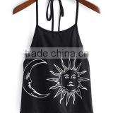SheIn Custom Sun & Moon Print Cami Halter Neck Crop Top Women Wholesale                                                                         Quality Choice