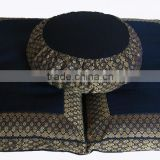 Kapok or Buckwheat Hull filled Brocade Zafu & Cotton Zabuton Meditation Cushion Yoga Pillow Set