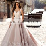 2016 sleeveless illusion round neckline v neck lace embellished bodice gorgeous princess ball-gown wedding dress CWF2348
