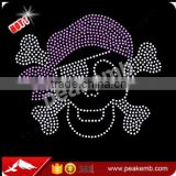 Wholesale Iron on Pirate Rhinestone Appliques Skull Heat Transfers Press by Rhinestone Machine