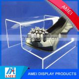 clear acrylic shoes display shelf with dividers / acrylic storage rack / acrylic shoes cabinet