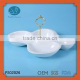 Wholesale ceramic plates dishes dinner set with gold handle,4 Compartment Porcelain plate