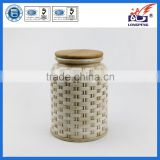 Ceramic Knitted Food Storage Jar with Airtight Seal Bamboo Lid Wholesale