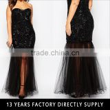 Ladies sex front split spaghetti strap gown dresses latest design formal evening gown 2016