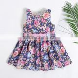 2017 Summer Girls Floral Print Flower Ball Gown Sleeveless Baby Children Clothes Infant Cotton Birthday Party Dresses